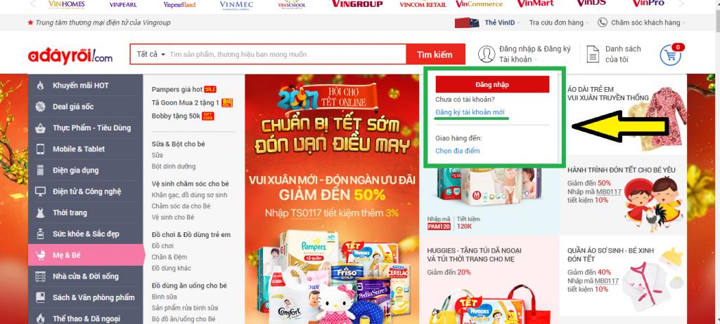 trang web bán hàng adayroi