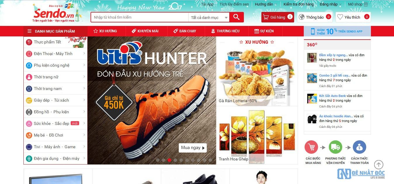 trang web bán hàng online sendo