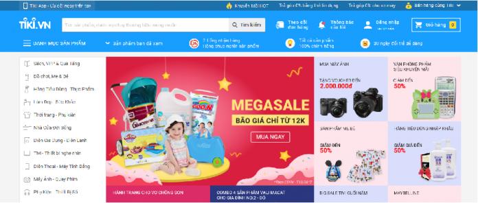 trang web bán hàng trên tiki