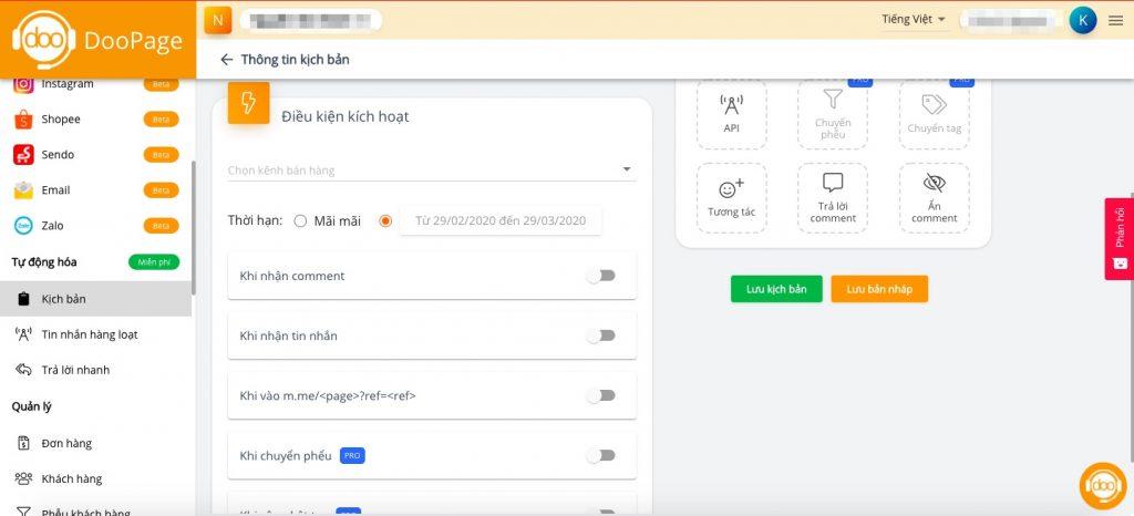 Thiết lập chatbot đa kênh trên 1 màn hình