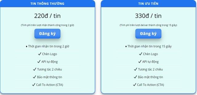 Bảng chi phí tham khảo của dịch vụ gửi tin nhắn ZNS