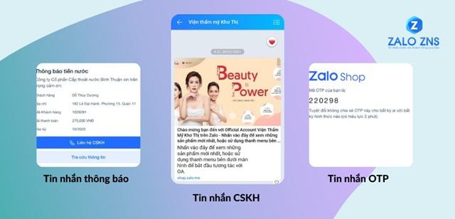 Một số hình thức của dịch vụ gửi tin nhắn ZNS